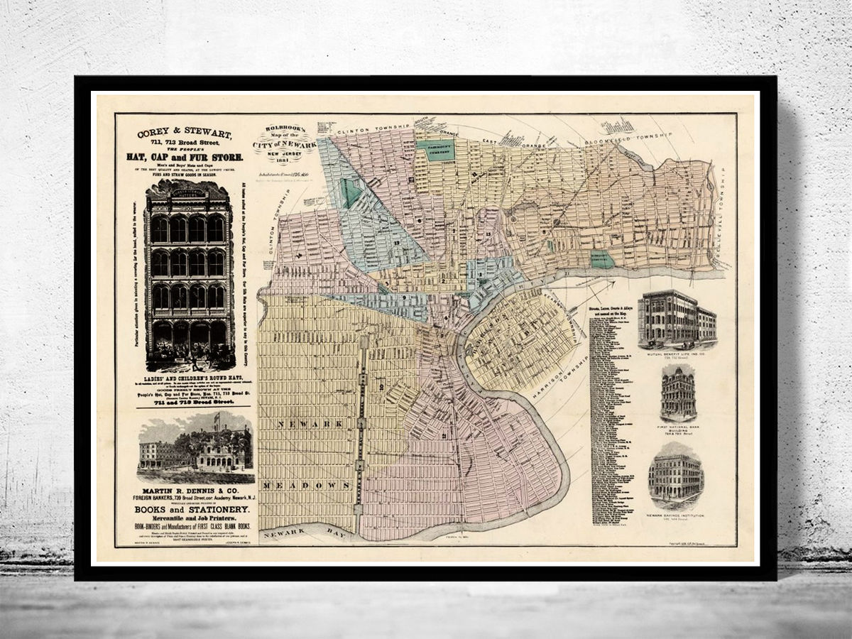 Old Map of Newark New Jersey,  United States 1881 - product images  of