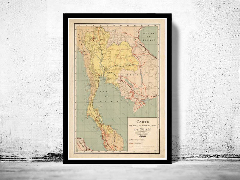 Old Map of Thailand, Old Siam 1932 - product image