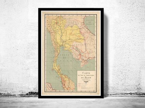 Old,Map,of,Thailand,Siam,1932,Vintage,thailand map, old map of thailand, old siam, siam, thailand poster