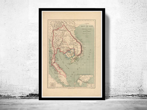 Old,Map,of,Thailand,Siam,1869,Vintage,thailand map, old map of thailand, old siam, siam, thailand poster