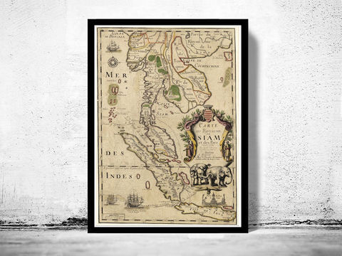 Old,Map,of,Thailand,Siam,1686,Vintage,thailand map, old map of thailand, old siam, siam, thailand poster
