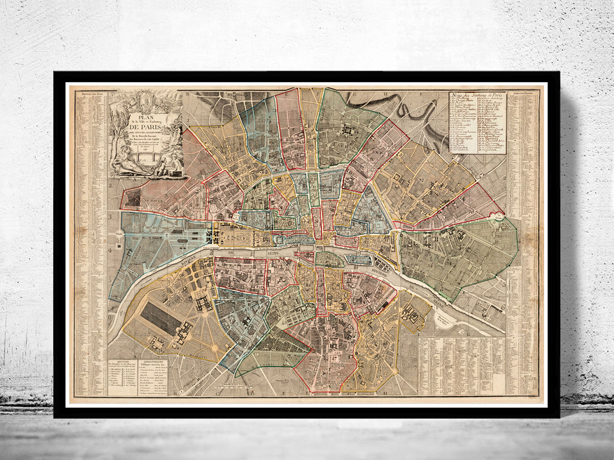 Old Map of Paris France 1790 Vintage Map - product images  of