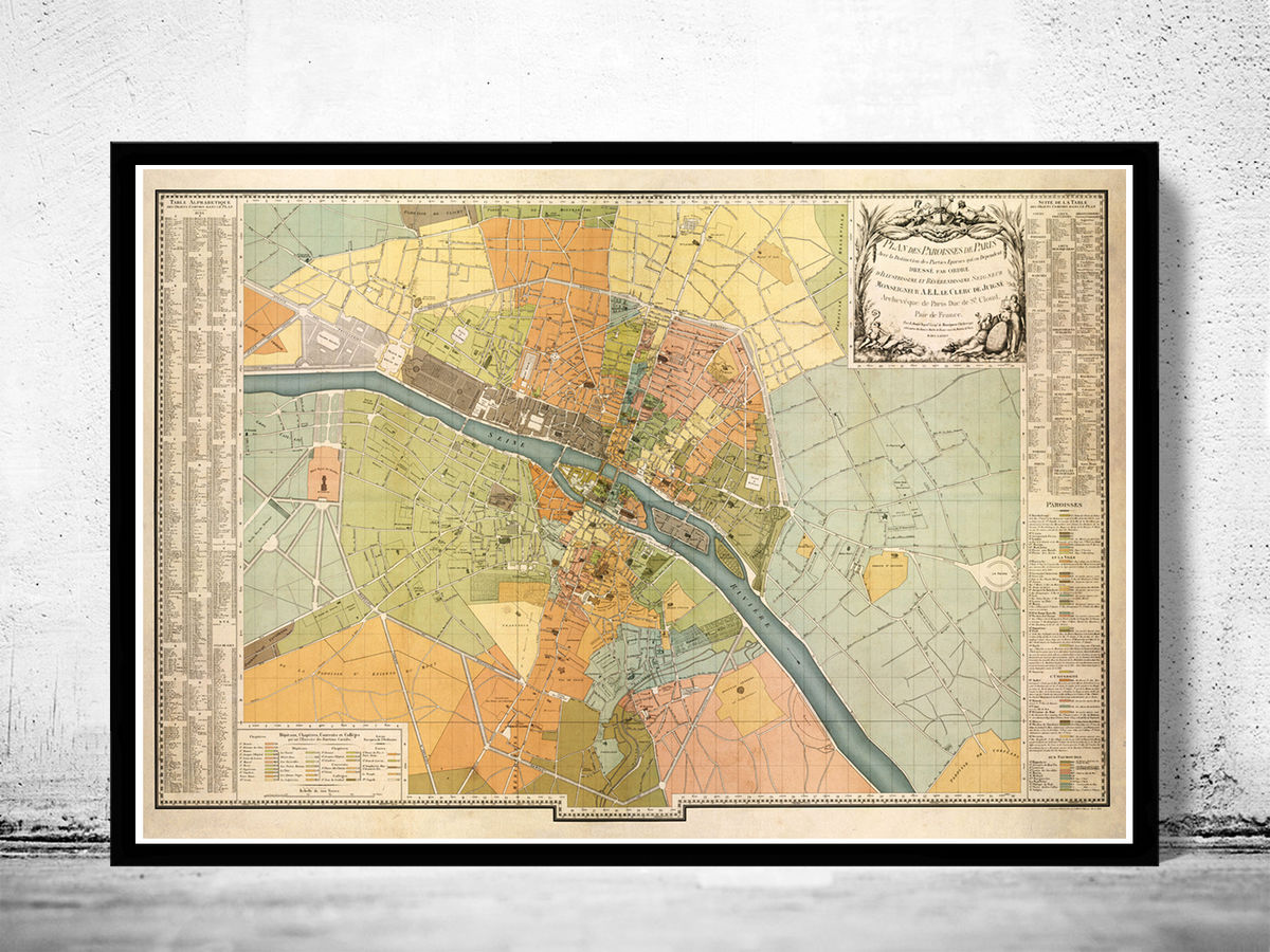 Old Map of Paris (VERY LARGE MAP) 1904 Vintage Map - product images  of