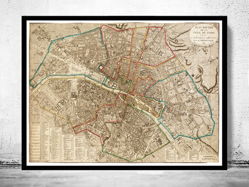 Old Map of Paris, France 1832 - product image