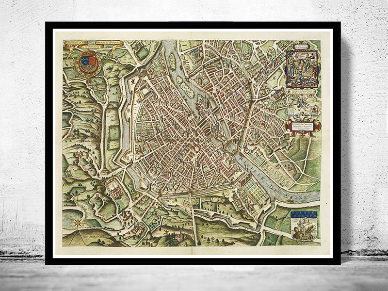 Old Map of Paris 1609 - product image