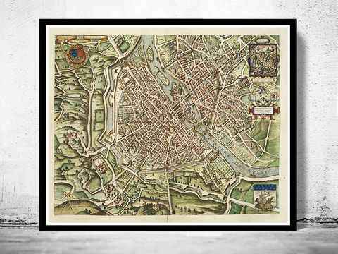 Old,Map,of,Paris,1609,Art,Reproduction,Illustration,paris,vintage,France,medieval,engraving,old_map,old_map_of_paris,panoramic,paris_map,map_of_paris,paris_plan,paris_decor,antique_paris