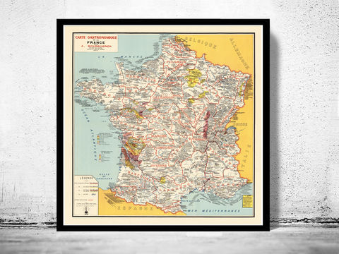 Old,Map,of,France,Gastronomy,,Vintage,Poster,Art,Reproduction,Open_Edition,historical_map,vintage_map,vintage_poster,map_of_france,france,switzerland,old_map_france,france_poster,carte_gastronomique,gastronomy_france,france_vintage,france_country_map,paris_vintage