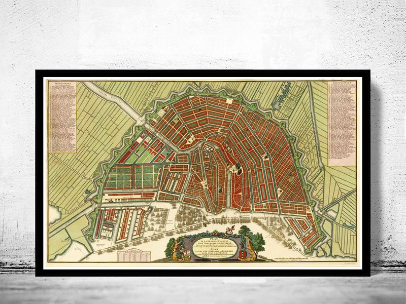 Old Vintage Map of Amsterdam, Netherlands 1735 Antique Vintage Map - product image