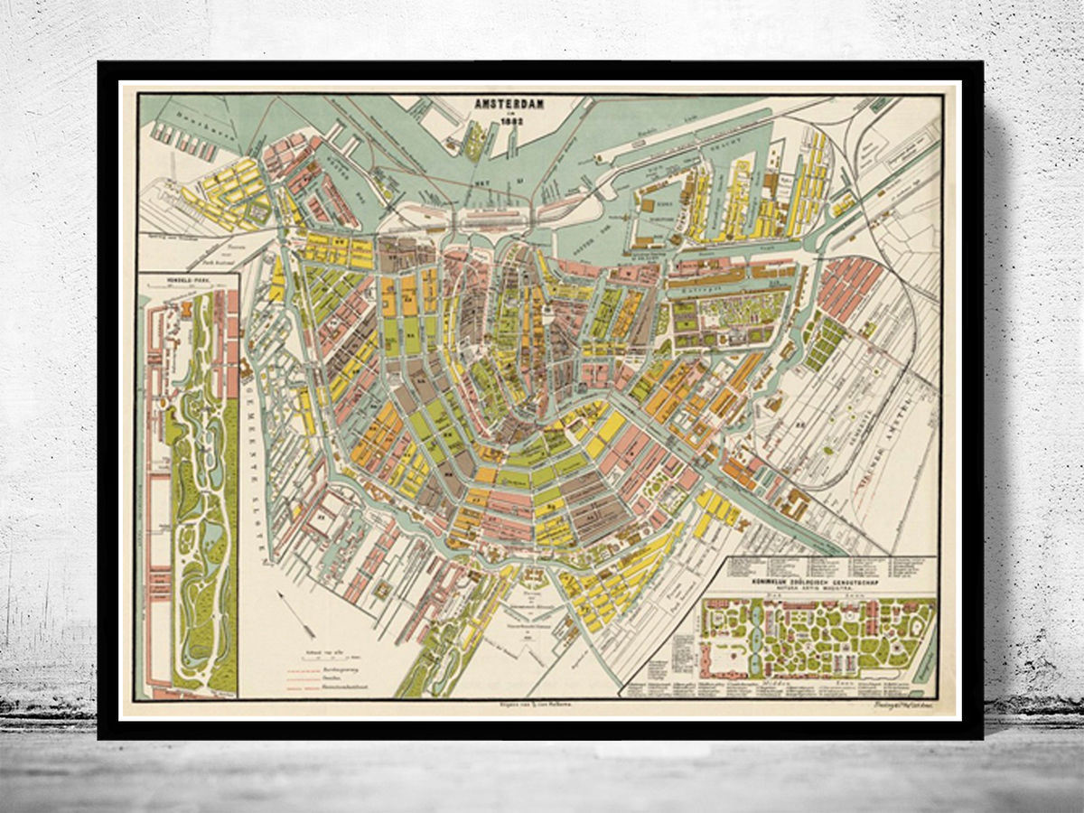 Old Vintage Map of Amsterdam Netherlands 1882 Antique Map - product images  of