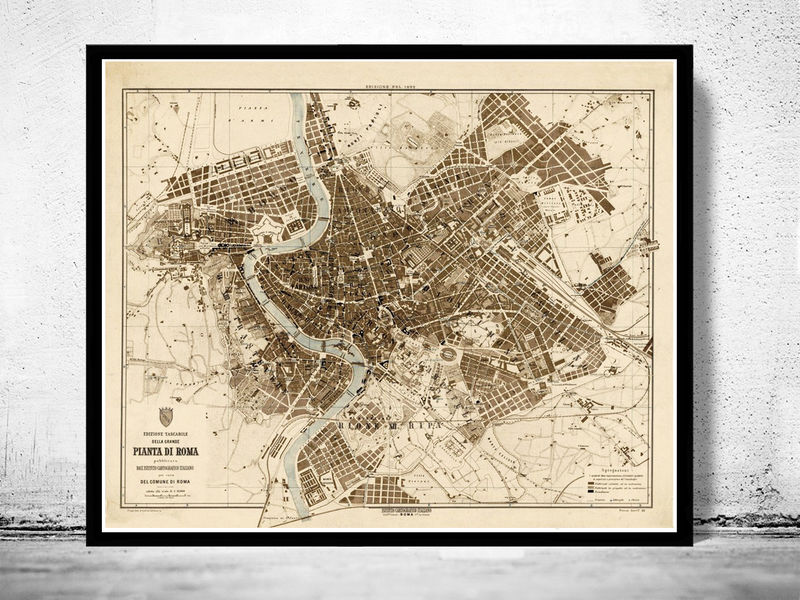 Old Map City Plan of Rome Roma, Italia 1892 Antique Vintage Italy - product image