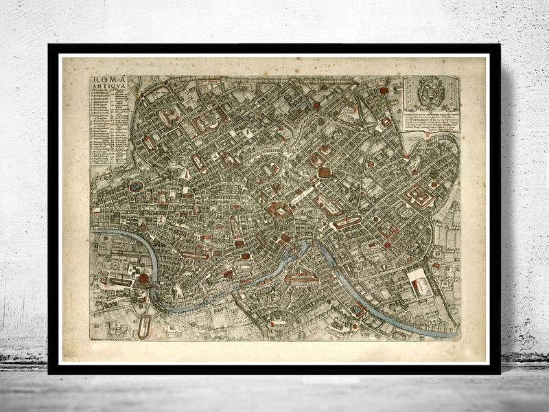 Old Map City Plan of Rome Roma, Italia 1773 Antique Vintage Italy - product image