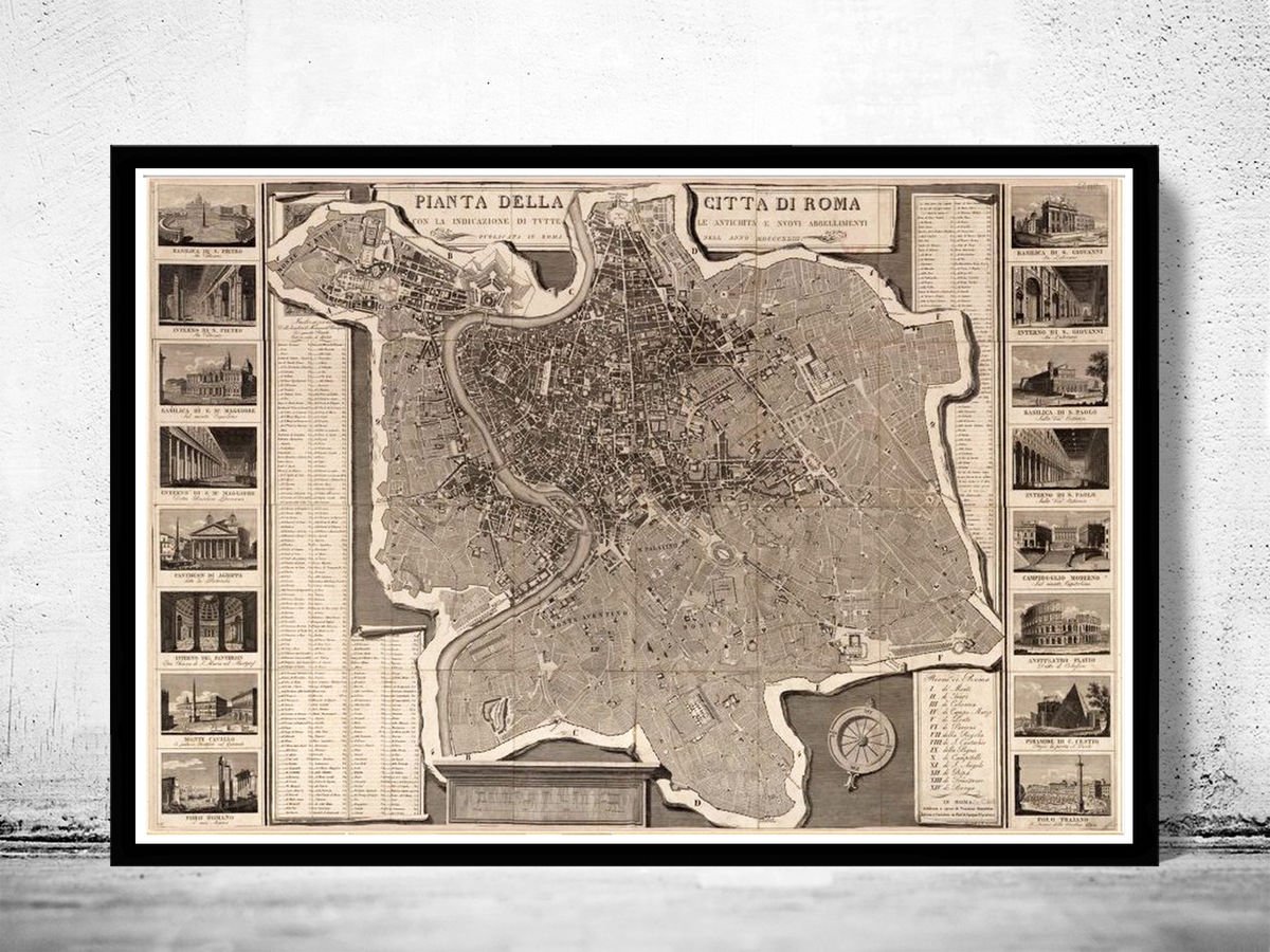 Old Map City Plan of Rome Roma, Italia 1843 Antique Vintage Italy - product images  of