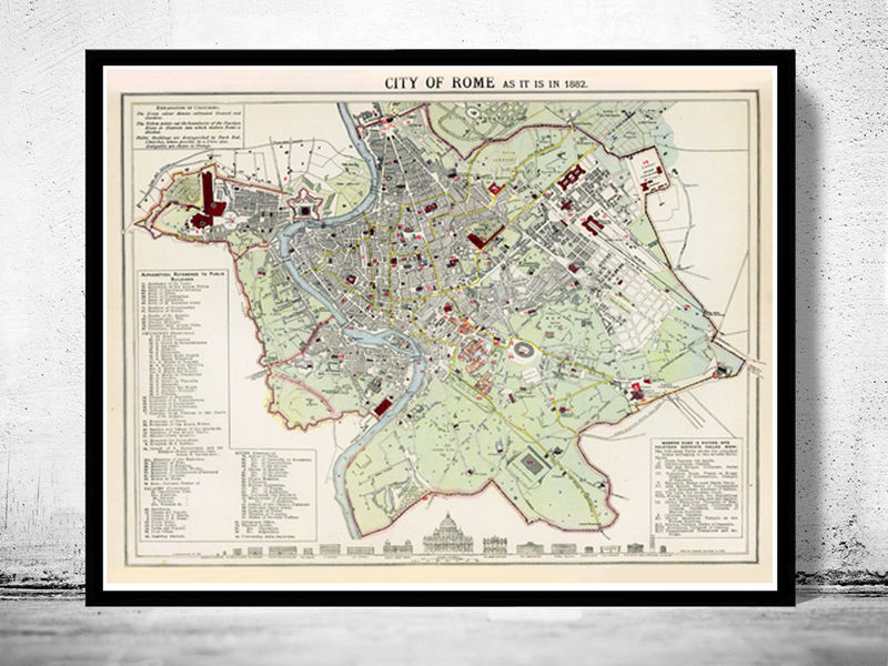 Old Map City Plan of Rome Roma, Italia 1883 Antique Vintage Italy - product image