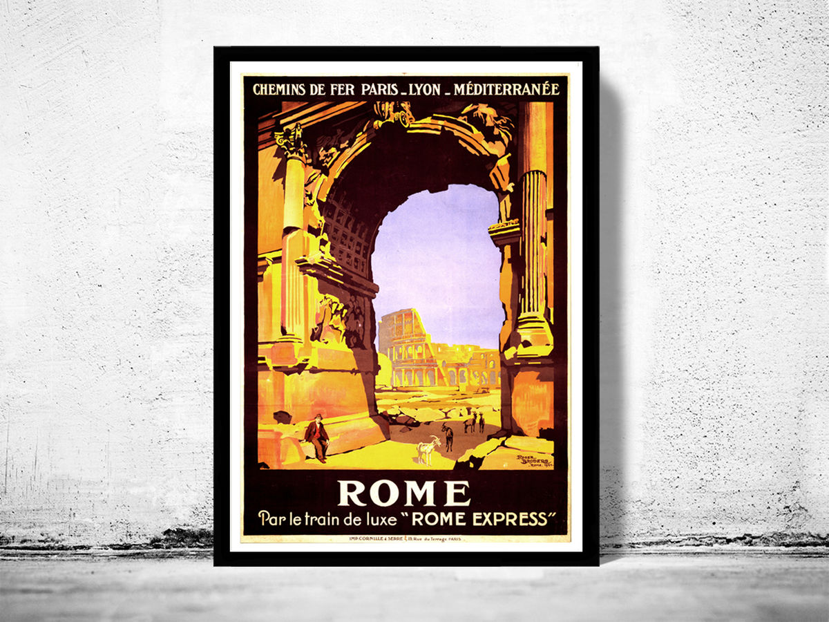 Vintage Poster of Rome Italy Italia  1921 Tourism poster travel - product image