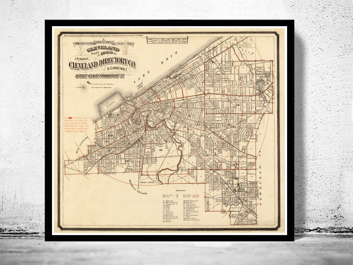 Old Map of Cleveland and suburbs 1882 - product images  of