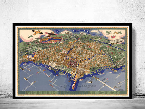 Old,Panoramic,View,of,Chicago,Birdseye,1931,Art,Reproduction,Open_Edition,vintage,United_States,retro,antique,business_district,old_map,vintage_map,vintage_poster,map_of_chicago,chicago_map,chicago_poster