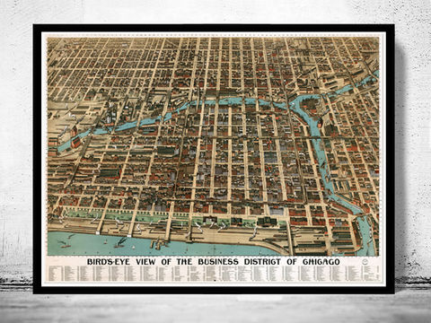 Old,Panoramic,View,of,Chicago,Birdseye,1898,Vintage,Map,Art,Reproduction,Open_Edition,vintage,illustration,United_States,USA,retro,antique,business_district,old_map,vintage_map,vintage_poster,map_of_chicago,chicago_map, maps reproductions