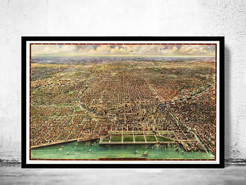 Old,Map,of,Chicago,Birdseye,Vintage,Art,Reproduction,Open_Edition,vintage,United_States,retro,antique,business_district,old_map,vintage_map,vintage_poster,map_of_chicago,chicago_map,chicago_poster