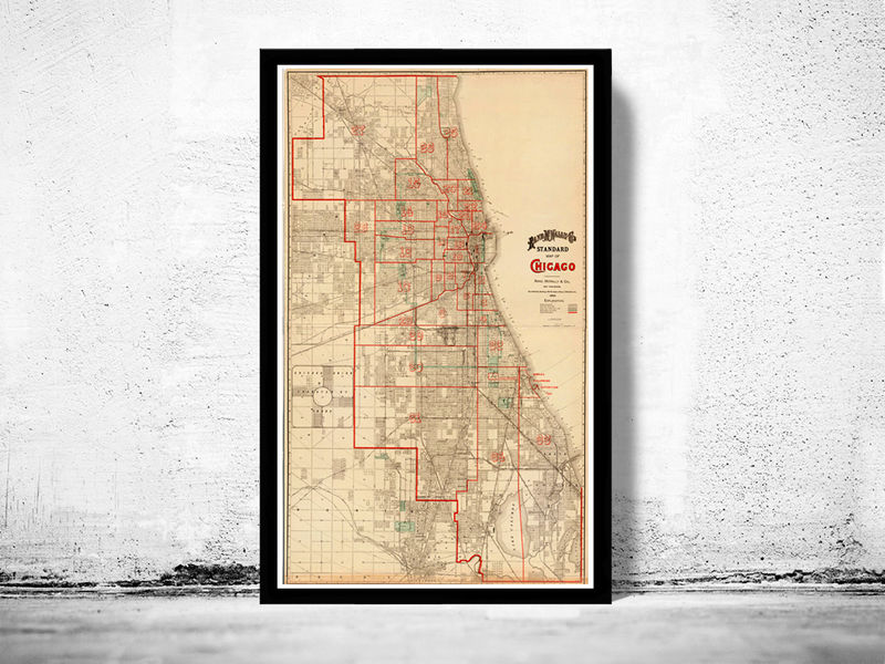 Old vintage map of Chicago 1893, United States of America - product image