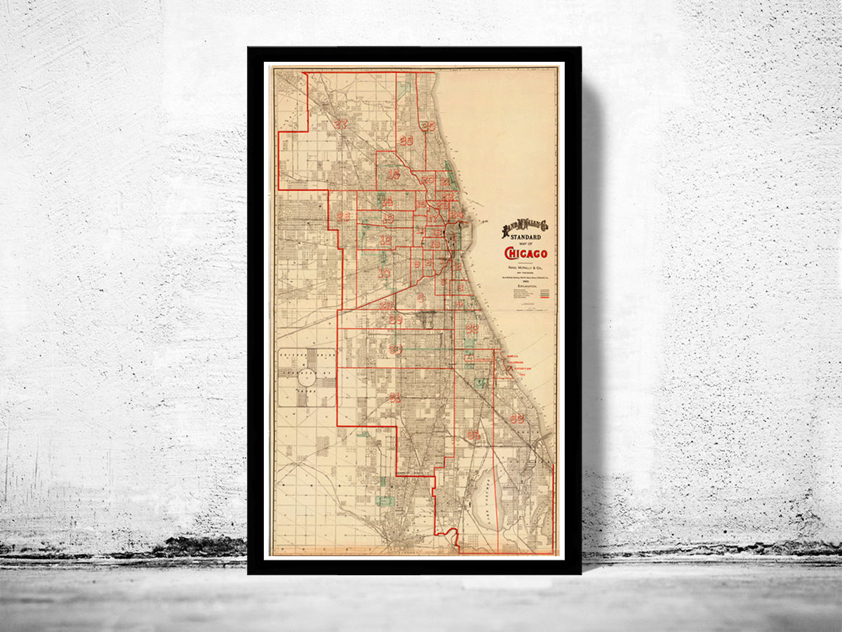 Old Map of Chicago 1893 Vintage Map of Chicago - product images  of