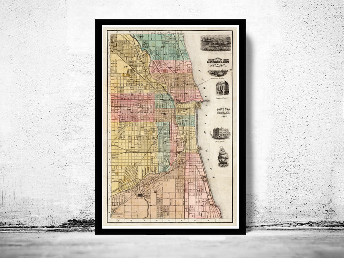 Old vintage map of Chicago 1867, United States of America - product images  of