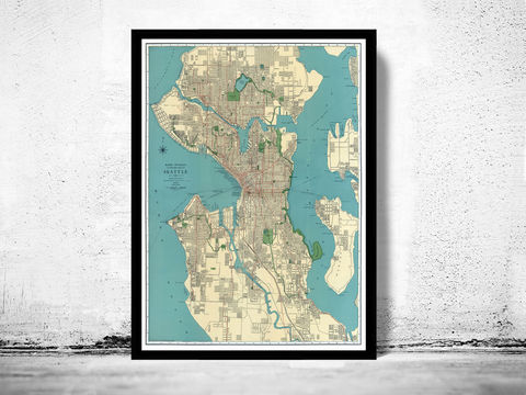 Old,Map,of,Seattle,1924,Washington,seattle old map, Art,Reproduction,Open_Edition,plan,illustration,antique,gravures,united_states,seattle,washington,old_map,city_plan,vintage_map,vintage_poster