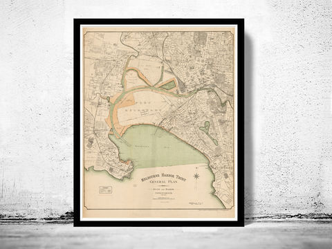 Vintage,Map,of,Melbourne,Port,Harbour,1893,,,Australia,Oceania,melbourne, map of melbourne, melbourne map, melbourne poster, australian poster, australia poster, old map, maps and printsr