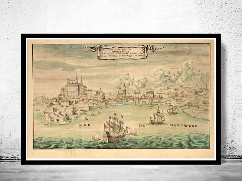 Old Gravure of Oslo Christiania Norway 1650 - product image