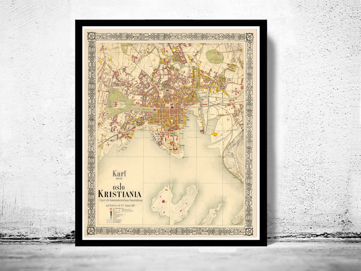 Old Map of Oslo Norway 1881 Antique Kristiania - product images  of