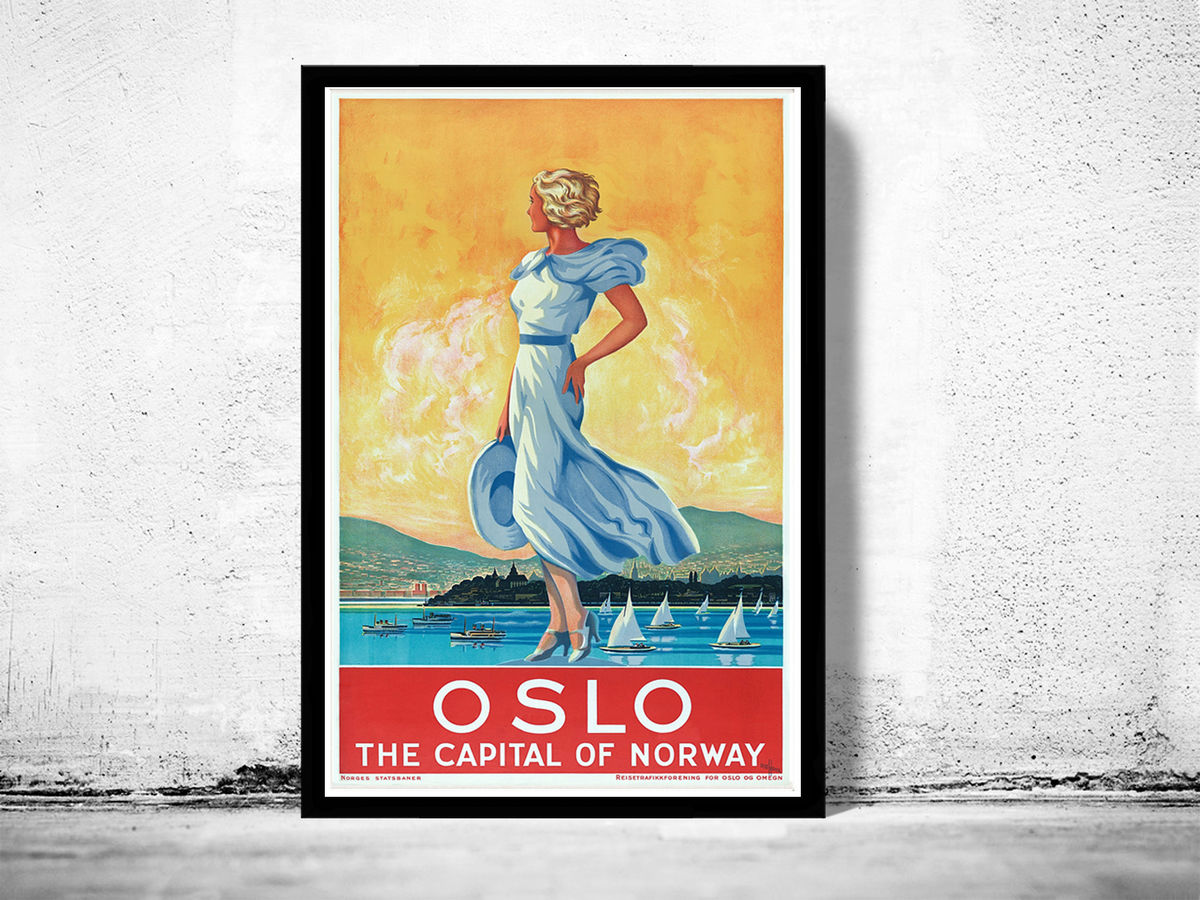 Vintage Poster of  Oslo Norway 1930 Tourism poster travel - product images  of
