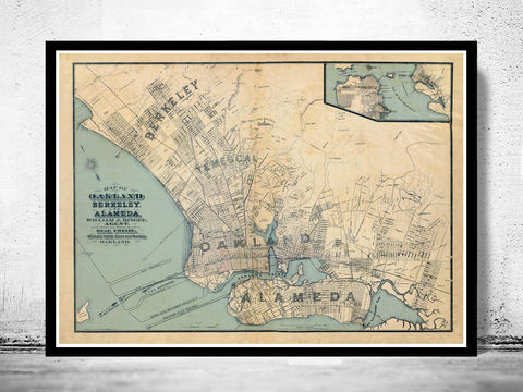 Old,map,Oakland,California,1884,oakland, california, map, poster, oakland map, map of oakland, oakland poster