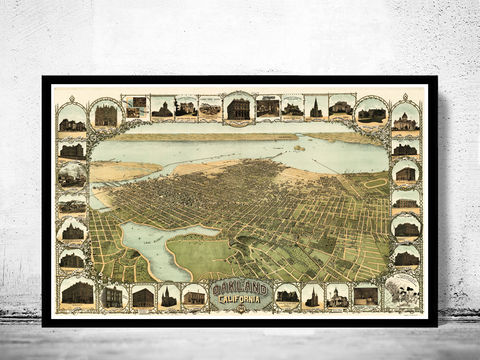 Vintage,View,Oakland,California,Birdseye,1900,Art,Reproduction,Open_Edition,city_map,retro,birdseye,vintage_map,birdseye_view,california,california_decor,oakland_california,oakland,oakland_poster,oakland_map,city_plan,vintage_oakland