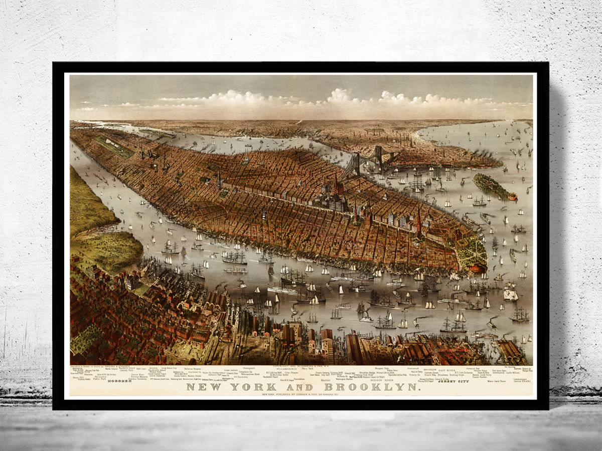 Old Panoramic New York 1875 BirdsEye View - product images  of