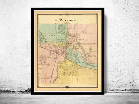 Old,Map,of,Watertown,Wisconsin,1878,vintage_map_halifax,halifax,vintage_poster, watertown, watertown wisconsin, watertown map, watertown poster