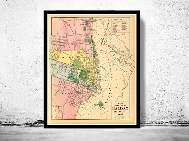 Old Map of Halifax Nova Scotia Canada 1878 - product image