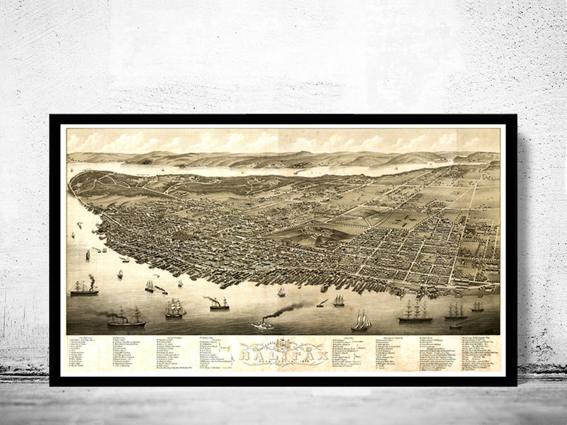 Vintage Panoramic View of Halifax, Nova Scotia Canada, Aerial view 1879 - product image