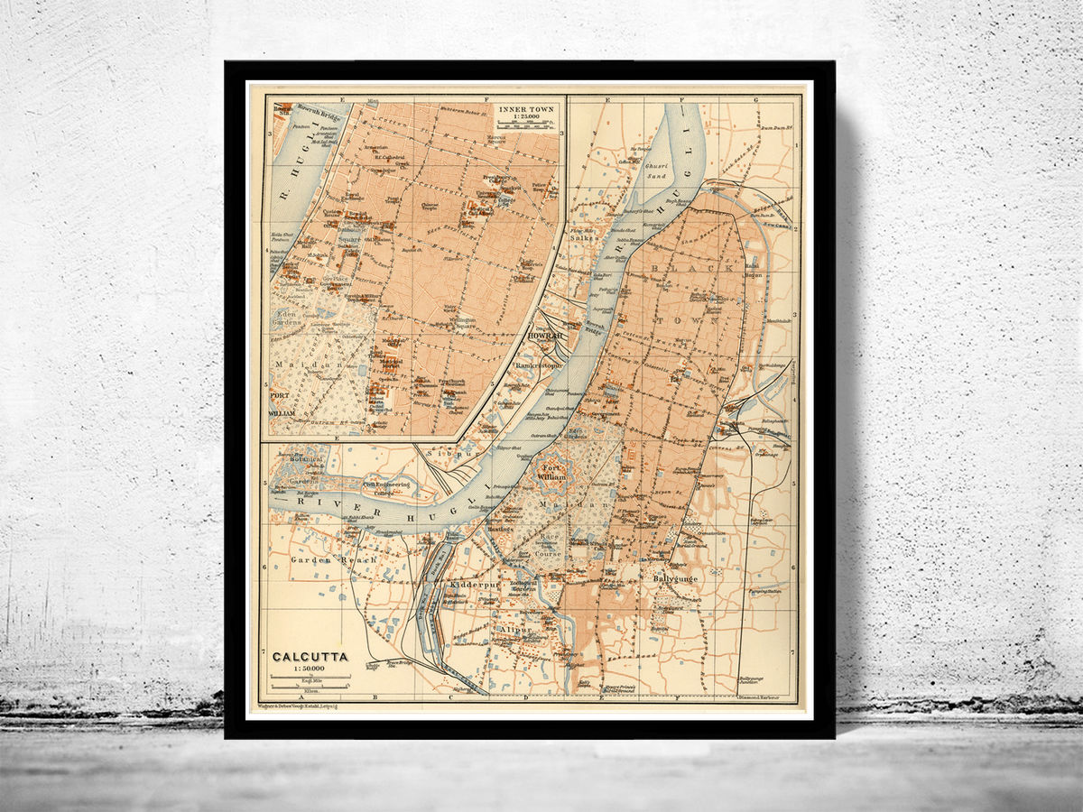 Old Map of Calcutta Kolkata, India 1914 Antique Vintage - product images  of
