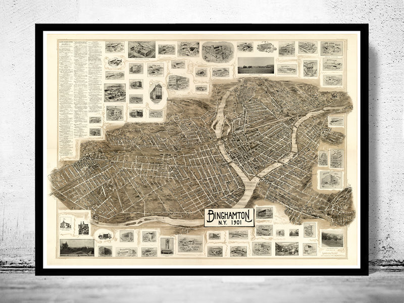 Old Map of Binghamton New York 1901 - product image
