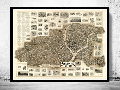 Old,Map,of,Binghamton,New,York,1901,Vintage,binghamton new york, binghamton map, map of binghamton, binghamton ny, binghamton poster