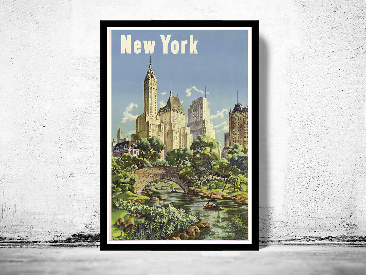 Vintage Poster of  New York Tourism poster travel - product images  of