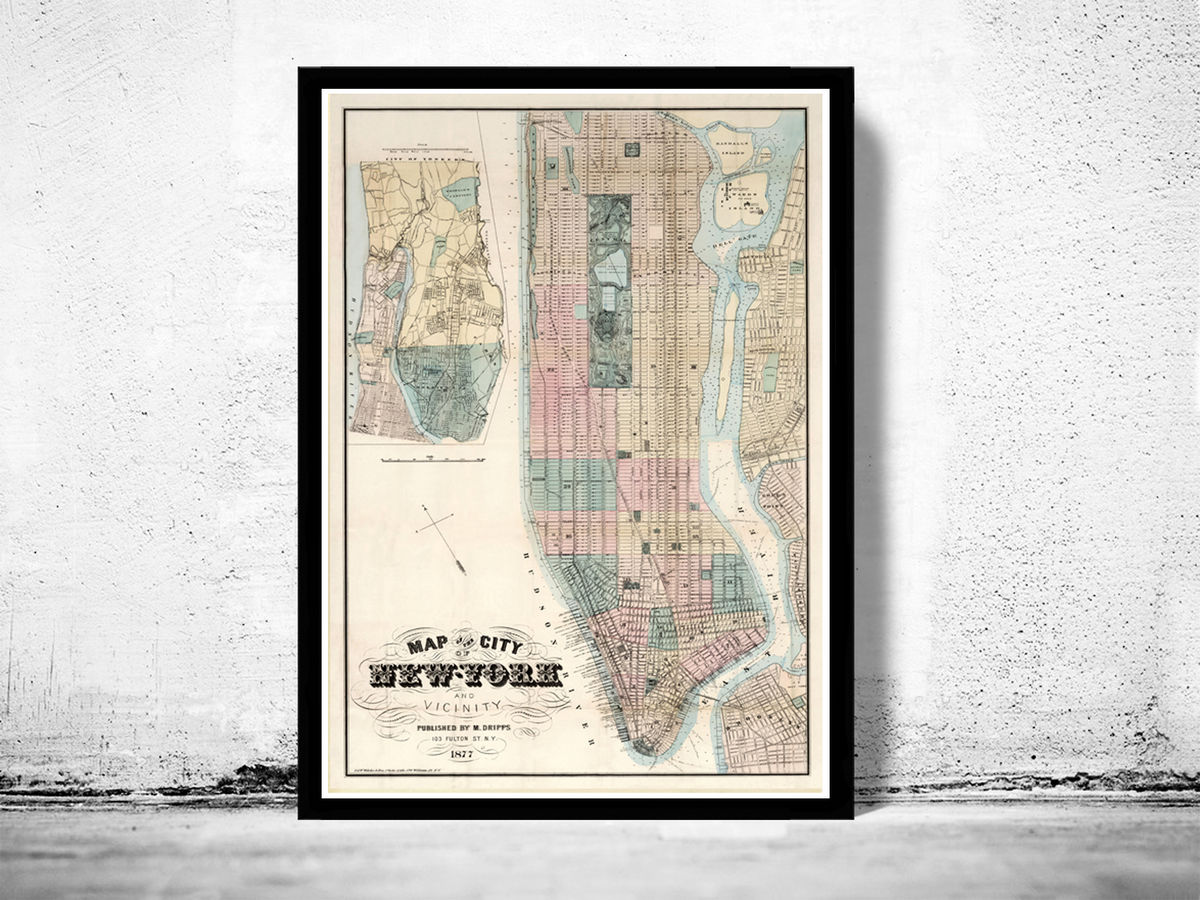 Old Map of New York 1877 Manhattan Vintage New York Map - product images  of