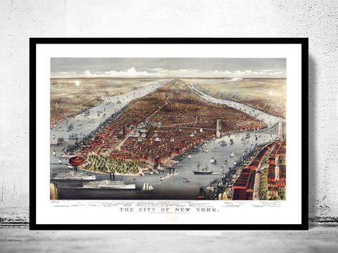 Old,Panoramic,New,York,1883,BirdsEye,View,Art,Reproduction,Open_Edition,panoramic_view,brooklyn,new_york_vintage,old_poster_new_york,new_york_poster,new_york_city_plan,new_york,old_new_york,new_york_map,new_york_panoramic,antique_new_york,new_york_decor,new_york_retro