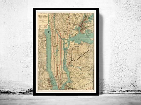 Old,Map,of,New,York,and,Manhattan,1924,Vintage,new york map, old map of new york, vintage decor, old maps, manhattan map