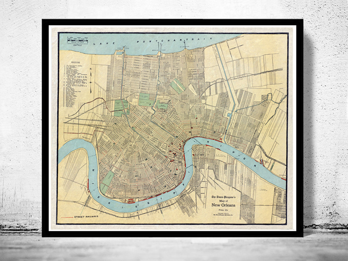 Old Map of New Orleans 1919 - product images  of