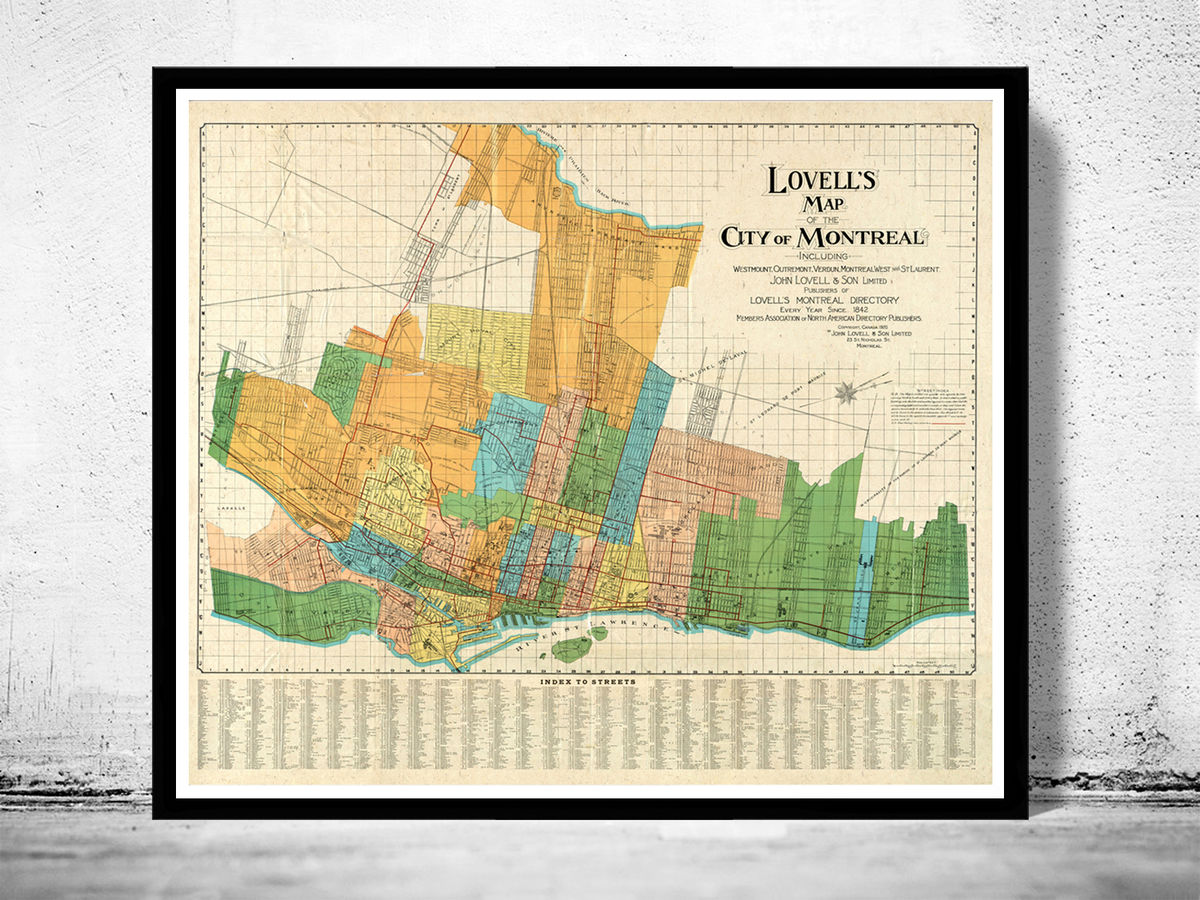 Old Map of Montreal Canada 1920 Vintage Map - product images  of