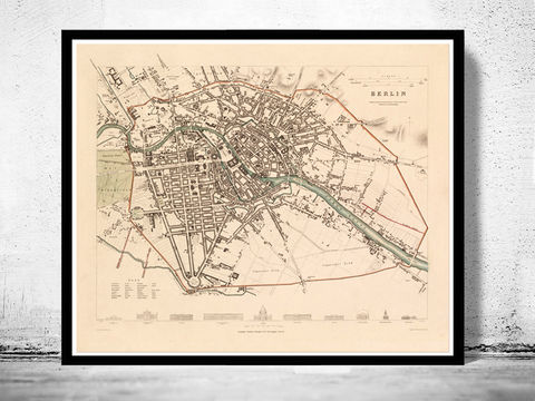 Old,Map,of,Berlin,Germany,1851,Vintage,berlin, berlin map, berlin germany, berlin poster, vintage, antique, map
