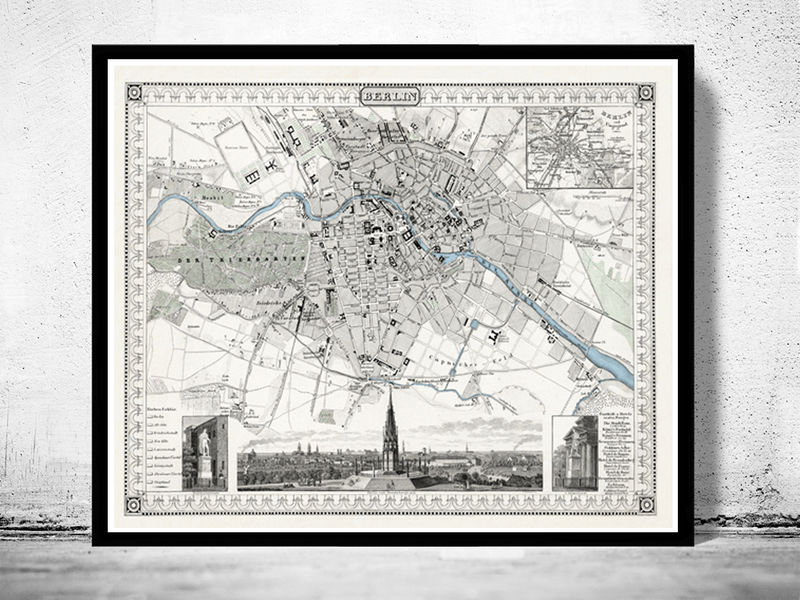 Old Map of Berlin, Germany 1860 Antique Vintage - product image