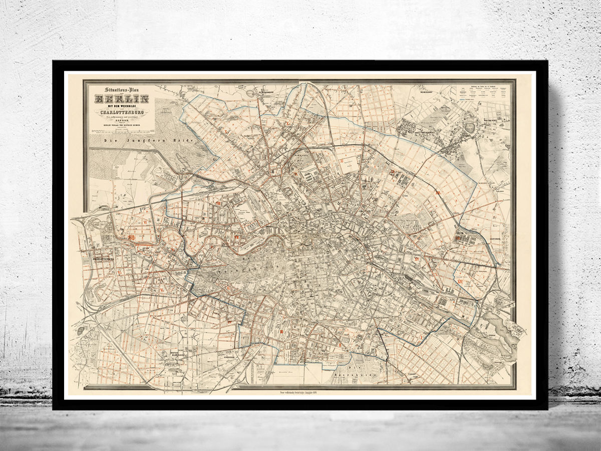Old Map of Berlin Germany 1894 Vintage Map of Berlin - product images  of
