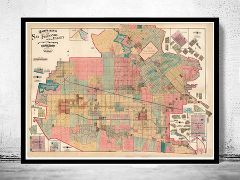 Old,Map,of,San,Fernando,Valley,1921,The,Vintage,san fernando valley, the valley map, san fernando map, map of the valley