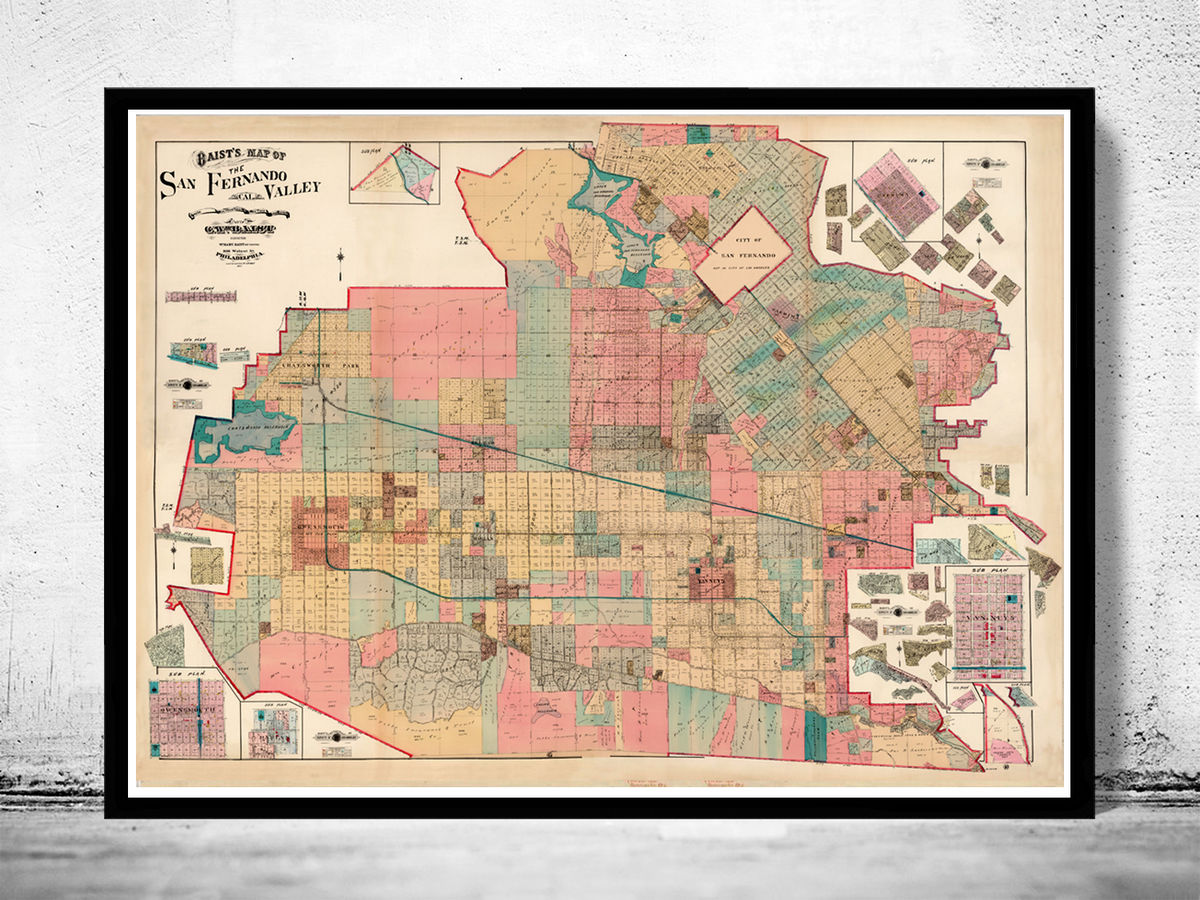Old Map of San Fernando Valley 20 The Valley Vintage Map ...